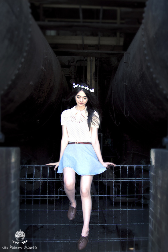 Top: American Apparel  |  Skirt:  American Apparel   |  Belt:  Korean Market  |  Floral Headpiece:  Lovisa